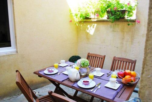 terrasse du gite à sarlat, gite en Dordogne